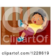 Clipart Of A Shouting African American Boy Falling Down Stairs Royalty Free Vector Illustration