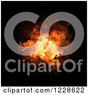 Clipart Of A Fliery Explosion Bursting Over Black Royalty Free Illustration