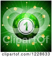 Clipart Of A 3d Lucky Shamrock St Patricks Day Bingo Ball Over A Burst Royalty Free Vector Illustration
