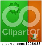Clipart Of A Shamrock And Irish Hat On St Patricks Day Leather Royalty Free Vector Illustration by elaineitalia