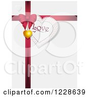 Clipart Of A Heart Love Tag With A Red Valentines Day Gift Bow And Pendant On Shaded White Royalty Free Vector Illustration