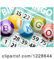 Clipart Of 3d Bingo Balls Over Cards Royalty Free Vector Illustration by elaineitalia