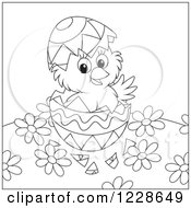 Clipart Of An Outlined Hatching Chick In An Easter Egg Royalty Free Vector Illustration
