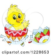 Clipart Of A Cute Yellow Chick Hatching From An Easter Egg Royalty Free Vector Illustration