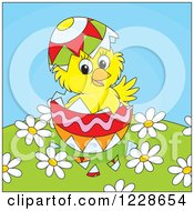 Clipart Of A Hatching Yellow Chick In An Easter Egg Over Fowers Royalty Free Vector Illustration