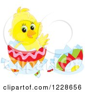Clipart Of A Cute Chick Hatching From An Easter Egg Royalty Free Vector Illustration