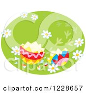 Clipart Of A Cracked Easter Egg Royalty Free Vector Illustration
