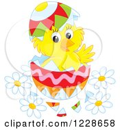Clipart Of A Hatching Chick In An Easter Egg Royalty Free Vector Illustration