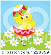 Clipart Of A Hatching Chick In An Easter Egg Over Fowers Royalty Free Vector Illustration