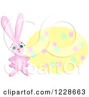 Clipart Of A Pink Easter Bunny And Floral Oval Royalty Free Vector Illustration by bpearth