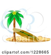Clipart Of A Surfboard Leaning Against A Beach Palm Tree Royalty Free Vector Illustration