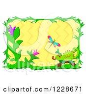 Chameleon Lizard Flower And Dragonfly Frame