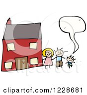 Clipart Of A Talking Family By Their Home Royalty Free Vector Illustration