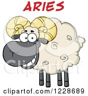 Clipart Of Red Aries Text Over A Ram Sheep Royalty Free Vector Illustration
