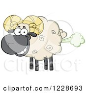 Clipart Of A Flatulent Ram Sheep Farting Royalty Free Vector Illustration