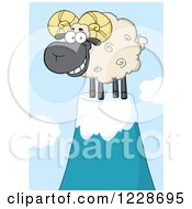 Clipart Of A Black And Tan Ram Sheep On A Mountain Top Royalty Free Vector Illustration