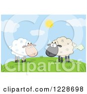 Clipart Of An Ewe Watching Another Flatulent Sheep Farting On A Hill Royalty Free Vector Illustration