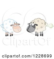 Clipart Of An Ewe Watching Another Flatulent Sheep Farting Royalty Free Vector Illustration
