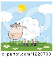 Clipart Of An Annoyed Sheep On A Sunny Hill Royalty Free Vector Illustration