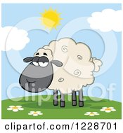 Clipart Of An Annoyed Black And Tan Sheep On A Sunny Hill Royalty Free Vector Illustration
