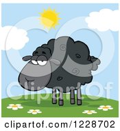 Clipart Of An Annoyed Black Sheep On A Sunny Hill Royalty Free Vector Illustration