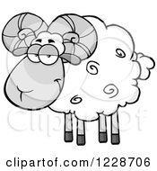 Grayscale Ram Sheep