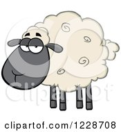 Clipart Of An Annoyed Black And Tan Sheep Royalty Free Vector Illustration by Hit Toon
