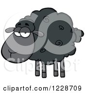 Clipart Of An Annoyed Black Sheep Royalty Free Vector Illustration by Hit Toon