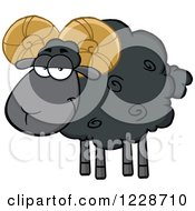 Clipart Of A Black Ram Sheep Royalty Free Vector Illustration by Hit Toon