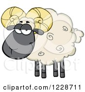 Clipart Of A Black And Tan Ram Sheep Royalty Free Vector Illustration by Hit Toon