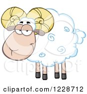 Clipart Of A White Ram Sheep Royalty Free Vector Illustration