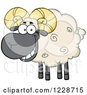 Clipart Of A Happy Black And Tan Ram Sheep Royalty Free Vector Illustration