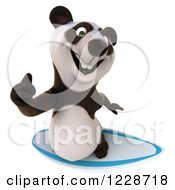 Clipart Of A 3d Surfer Panda Holding A Thumb Up Royalty Free Illustration