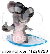 Clipart Of A 3d Surfing Koala Mascot Wearing Sunglasses Royalty Free Illustration