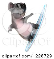 Clipart Of A 3d Surfing Koala Mascot Wearing Sunglasses 3 Royalty Free Illustration
