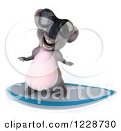 Clipart Of A 3d Surfing Koala Mascot Wearing Sunglasses 4 Royalty Free Illustration