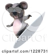 Clipart Of A 3d Surfing Koala Mascot Wearing Sunglasses 2 Royalty Free Illustration