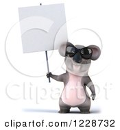 Clipart Of A 3d Koala Mascot Wearing Sunglasses And Holding A Sign Royalty Free Illustration