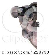 Clipart Of A 3d Koala Mascot Wearing Sunglasses And Pointing Around A Sign Royalty Free Illustration