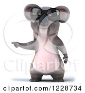 Clipart Of A 3d Koala Mascot Wearing Sunglasses And Pointing Royalty Free Illustration
