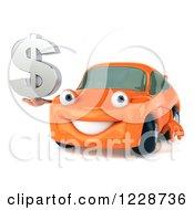 Clipart Of A 3d Orange Porsche Car Holding A Dollar Symbol Royalty Free Illustration