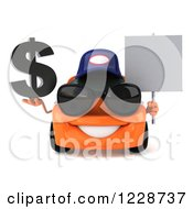 Clipart Of A 3d Orange Porsche Car Wearing A Hat And Sunglasses And Holding A Sign And Dollar Symbol Royalty Free Illustration