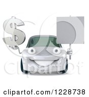 Clipart Of A 3d White Porsche Car Holding A Sign And Dollar Symbol Royalty Free Illustration