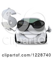 Clipart Of A 3d White Porsche Car Wearing Sunglasses And Holding A Dollar Symbol 2 Royalty Free Illustration