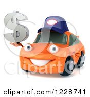 Clipart Of A 3d Orange Porsche Car Wearing A Hat And Holding A Dollar Symbol Royalty Free Illustration