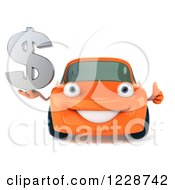 Clipart Of A 3d Orange Porsche Car Holding A Thumb Up And Dollar Symbol Royalty Free Illustration