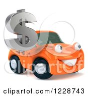 Clipart Of A 3d Orange Porsche Car Holding A Dollar Symbol 2 Royalty Free Illustration