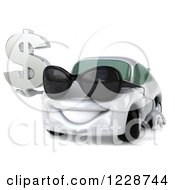 Clipart Of A 3d White Porsche Car Wearing Sunglasses And Holding A Dollar Symbol Royalty Free Illustration