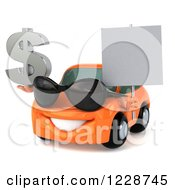 Clipart Of A 3d Orange Porsche Car Wearing Sunglasses Holding A Sign And Dollar Symbol Royalty Free Illustration