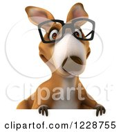 Clipart Of A 3d Bespectacled Kangaroo Over A Sign Royalty Free Illustration